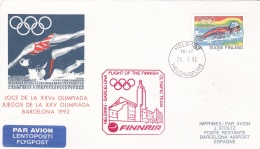 Finland Flight Cover Team Flying To Olympic Games In Barcelona 1992 With Finnair  (DD21-25) - Sommer 1992: Barcelone