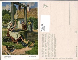 569356,Künstler AK O. Kubel Brüder Grimm Märchen Frau Holle Spinnen Brunnen - Märchen, Sagen & Legenden