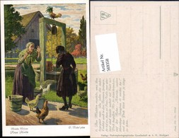 569358,Künstler AK O. Kubel Brüder Grimm Märchen Brunnen Kübel Hühner - Märchen, Sagen & Legenden