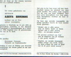 Souvenir Mortuaire BORREMANS Alberta (1894-1985) Wwe GOOSSENS, A. Geboren Te MOERBEKE Overleden Te GERAARDSBERGEN - Santini