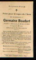 Souvenir Mortuaire BOUDART Germaine (1893-1912) - Santini