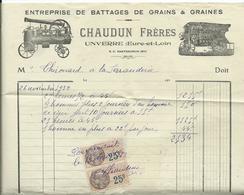 FACTURE - CHAUDUN FRERES - UNVERRE - Entreprise De Battages De Grains - Francia