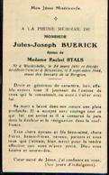 Souvenir Mortuaire BUERICK Jules (1891-1944) Né à WACHTEBEKE Mort à BRUXELLES - Santini