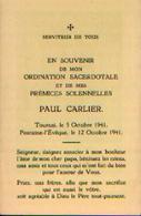 Souvenir De L'ordination Sacerdotale CARLIER Paul à FONTAINE-L'EVÊQUE (12/10/1941) - Santini