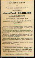 Souvenir Mortuaire CHARLIER Jean-Paul (1888-1941) Mort à SPA – Invalide De Guerre 14/18 - Santini