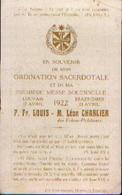Souvenir De L'ordination Sacerdotale CHARLIER Léon  Des Frères Prêcheurs – TRAZEGNIES (23/04/1922) - Santini