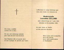 Souvenir Mortuaire COLLARD Laurentine (1902-1982) Née à MENIL-FAVAY - Santini