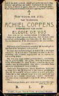 Souvenir Mortuaire COPPENS Achiel (1863-1920) Geboren En Overleden Te SINT-LIEVENS-HAUTEM Description : Voir Image (défe - Santini