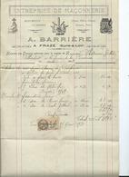 FACTURE - A.BARRIERE  - FRAZE - Entreprise De Maçonnerie - Francia