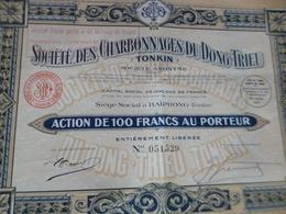Lot 2 Actions Société Des Charbonnages Du Dong Trieu Tonkin Indochine 1927 - Mijnen