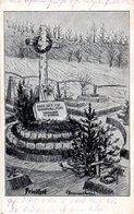 "Orig. Künstler-Postkarte (Zeichnung) ""Friedhof - Heldengrab"" K.D.FELDPOSTEXPED. DER 3.(K.S.) INF. DIV.Nr.32 11.6.15 - Guerre 1914-18"