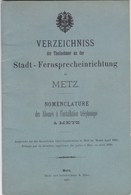METZ - MOSELLE - (57) - RARE ANNUAIRE TÉLÉPHONIQUE DE 1890. - Telephone Directories