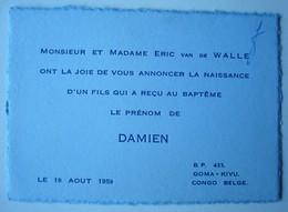 Faire-part Naissance Damien Van De Walle. - Goma Kivu Congo Belge 1959. - Naissance & Baptême