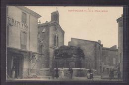 CPA 66 - SAINT-NAZAIRE - Place Publique - TB PLAN CENTRE VILLAGE TB ANIMATION Devanture Café Baylard + TB Verso 1914 - Autres Communes