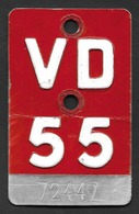 Velonummer Waadt VD 55 - Plaques D'immatriculation