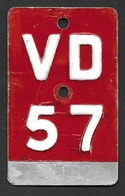 Velonummer Waadt VD 57 - Plaques D'immatriculation