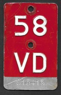 Velonummer Waadt VD 58 - Plaques D'immatriculation