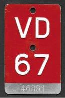 Velonummer Waadt VD 67 - Number Plates
