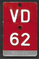 Velonummer Waadt VD 62 - Plaques D'immatriculation