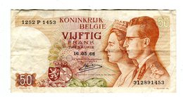 BILLET DE 50 FRANCS 1966 ROYAUME DE BELGIQUE - [ 6] Treasury