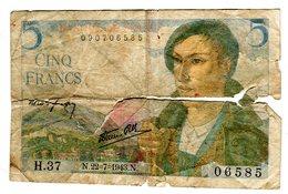 FRANCE Billet De 5 Frs BERGER / N.22 = 7 = 1943 .N - [ 6] Tesoreria
