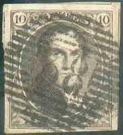 N°3 - Médaillon 10 Centimes Brun, TB Margé Et 3 Voisins, Obl. P.38 ENGHIEN Idéalement Apposée. Signée Kellens. - Luxe - 1849-1850 Medaillen (3/5)