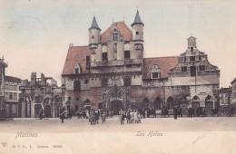 Malines Les Halles Colorée Et Animée Circulée En 1907 - Malines