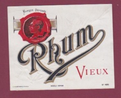 150718 - étiquette ALCOOL Apéritif Digestif - RHUM VIEUX Médaille Cire Sceau - Rhum