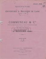 60 228 BEAUVAIS OISE - TARIF 1928  Manufacture De Couvertures COMMUNEAU Succ BOLLE - DRIARD - LETEILLIER - Textile & Vestimentaire