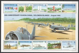M725 SOLOMON ISLANDS WORLD WAR II WWII 50TH ANNIVERSARY GUADALCANAL 1SH MNH - 2. Weltkrieg