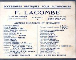 Bordeaux (33 Gironde) Carte F LACOMBE Accessoires Pour Automobiles (PPP13944) - Pubblicitari