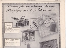 Pub.1925 ADREMA Machine à Main,à Imprimer,estampeuse,armoire  Verso; Mini-pubs: Yvel,Heudebert,Bourjois,Samaritaine..TBE - Pubblicitari