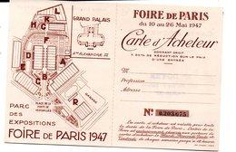 Paris CARTE D'acheteur FOIRE DE PARIS 1947 (PPP13946) - Biglietti D'ingresso