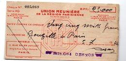 Chèque De 25.000 Frans 1946 (!) De L'union Meunière De La Région Parisienne (PPP13947) - Cheques & Traveler's Cheques