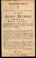 Souvenir Mortuaire DUBOIS Albin (1887-1919) Mort à MOLU (MARCHIN) - Images Religieuses