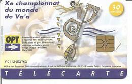 Télécarte Polynésie Française - CHAMPIONNAT DU MONDE DE VA'A 2002 30 U GEM Tirage 60 000 (N°120) - French Polynesia