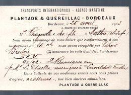 Bordeaux (33 Gironde) Carte PLANTADE ET QUEREILLAC Transports Internationaux (PPP13949) - Pubblicitari