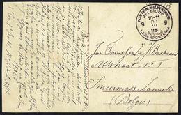 """Cachet """" POSTES MILITAIRES BELGIQUE -  9 - BELGÏE LEGERPOSTERIJ - 30 - VI - 23 """" - Envoi """"S.M."""" - Postmark Collection"""