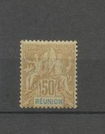 Colonies Réunion N°51 50c Bistre Brun Et Bleu Neuf * Cote 65€. N3200 - Neufs