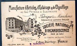 Paris Rue Darboy : Carte SOCIETE NATIONALE D'INCANDESCENCE  éclairage Et Chauffage (PPP13953) - Pubblicitari