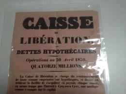 Affiche, CAISSE DE LIBÉRATION DES DETTES HYPOTHÉCAIRES, 1839 - Actions & Titres