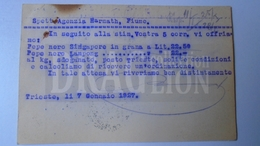 D159877  Commercial Postcard - Baumann & Protti  TRIESTE, Sorcolla E Palmanova - Sent To Agenzia Harmath  FIUME  1927 - Italia