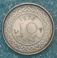 Suriname 10 Cents, 1974 - Surinam 1975 - ...