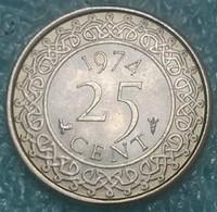 Suriname 25 Cents, 1974 - Surinam 1975 - ...
