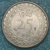 Suriname 25 Cents, 1986 - Surinam 1975 - ...