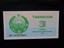 OUZBÉKISTAN : 3 SOM   1992  P 62a    NEUF - Uzbekistán