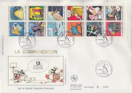 Enveloppe  FDC  Grand  Format  1er  Jour   FRANCE   Bande  Carnet   LA  COMMUNICATION   1988 - FDC