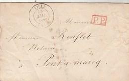 Lettre Cachet LILLE Nord 23/5/1840 PP Port Payé Pour Pont à Marcq Verso Taxe Manuscrite 2 - Marcofilia (sobres)