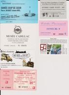 Lot 7 Tickets Hétéroclites Entrées Eco-Musée D'Alsace, Du Jouet, La Mine Lewarde, Auto Cadillac, Fonderie, Soirée Crèche - Biglietti D'ingresso