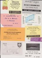 Lot 10 Tickets Hétéroclites Entrées Musées Souvenir, ,Salon Livres, Vin, Maison Ardoise, Paris La Villette, Tourissima - Biglietti D'ingresso